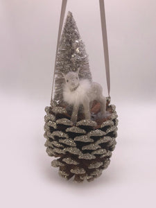 Baby Deer on Pinecone - Dove, Snow Fur