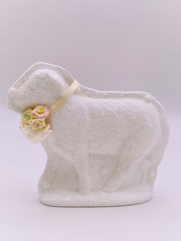 Lamb Mold with Blossoms - White