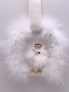 "Chick Feather Wreath 7"" - White"