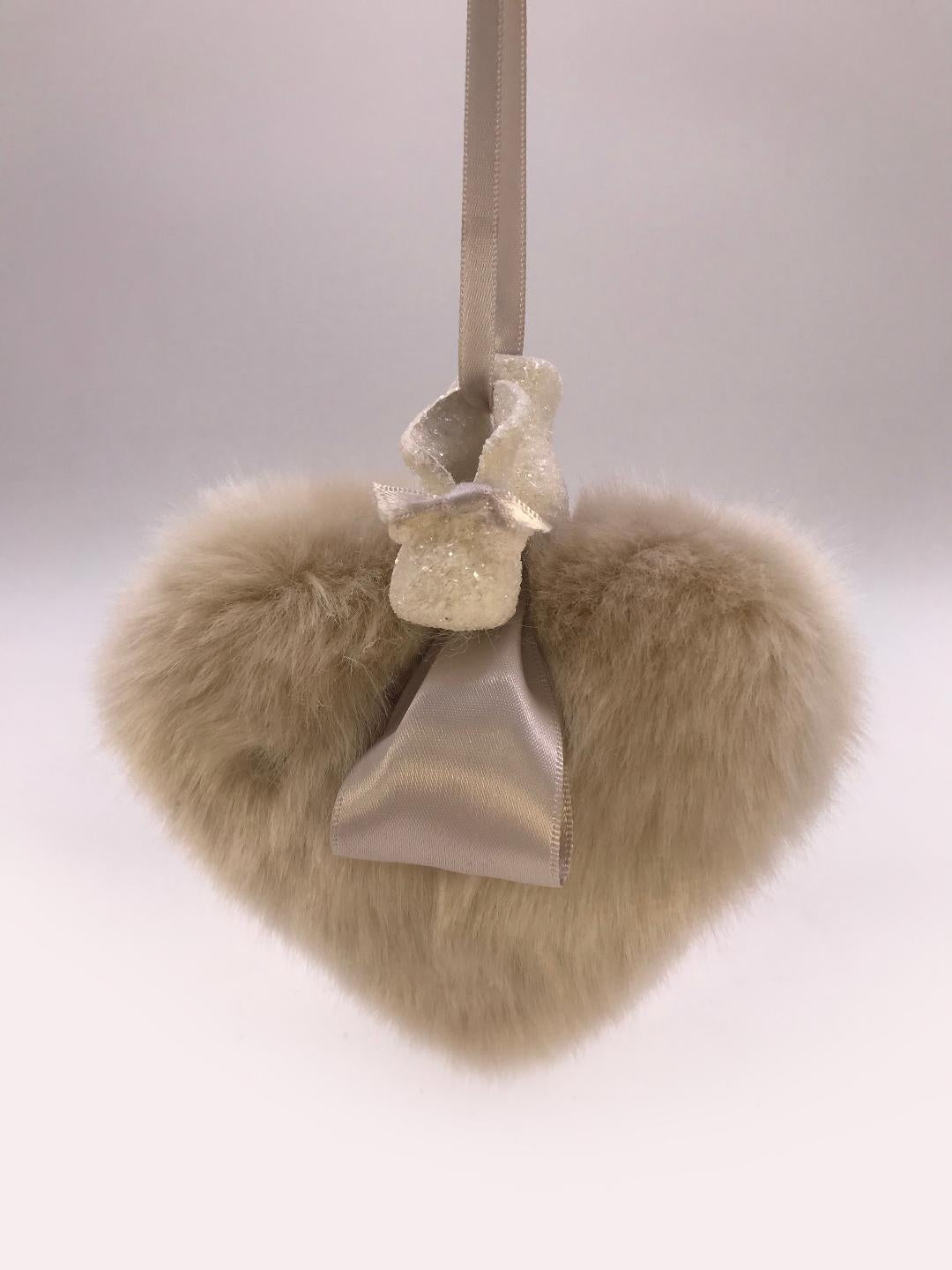 Booties on Heart Ornament - Fawn Fur
