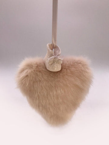 Booties on Heart Ornament - Pink Fur