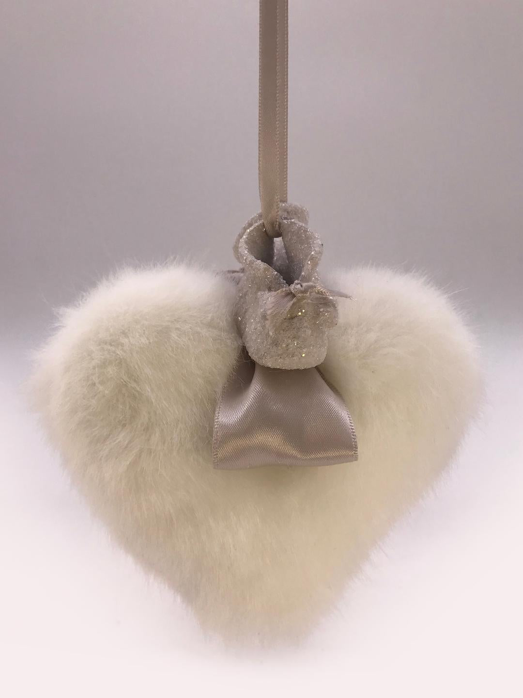 Booties on Heart Ornament - Snow Fur
