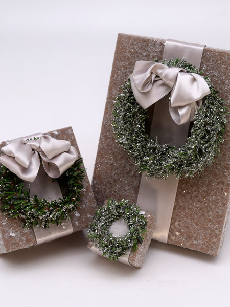 "Square 3"" x 3"" Box with Pine Wreath - Mocha"