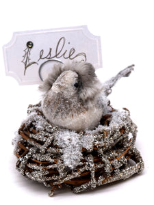 Baby Bird Card Holder - Silver, Fur Hat