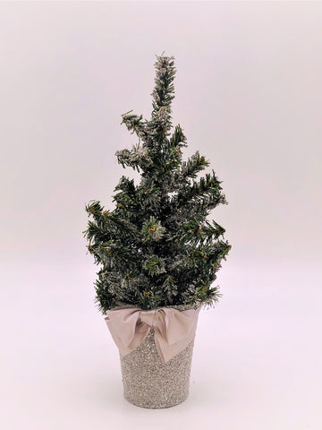 "Pine Tree in Bucket, 6"" X 12"" Tree - Silver"