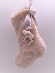 "Stocking with Fawn 10"" - Pink Fur"