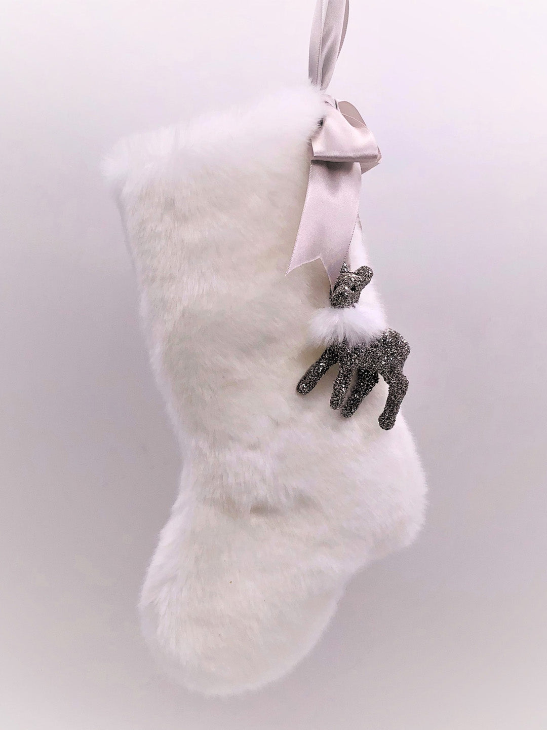 "Stocking with Fawn 10"" -  Silver, Snow Fur"