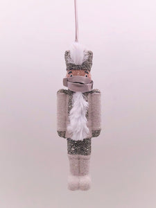"Nutcracker with Mask Ornament 2"" x 6"" - Dove"