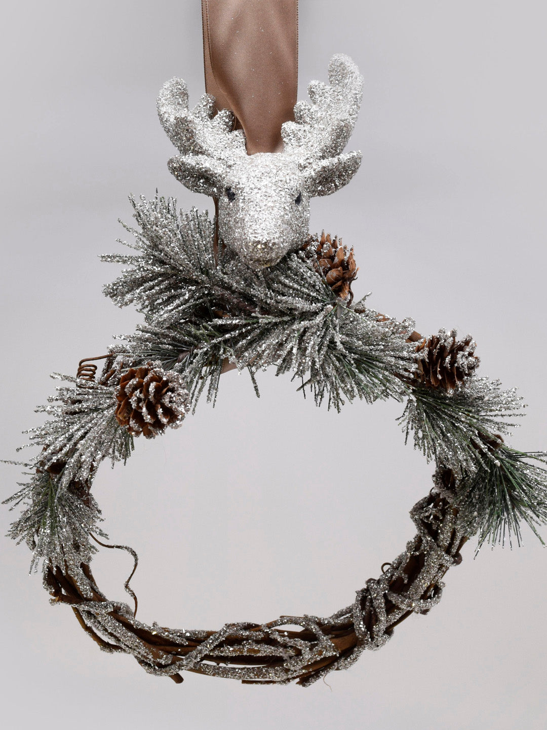 "Rudy Pinecone and Twig 8"" Wreath - Silver"
