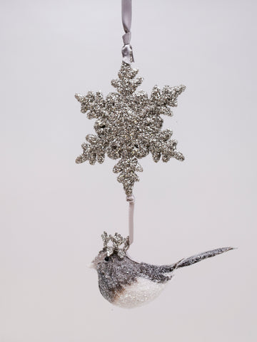 Bird and Snowflake - Silver