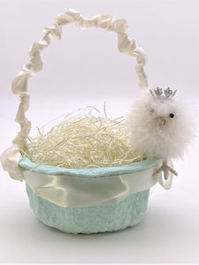 Chick Basket with Blossoms - Small, Aqua