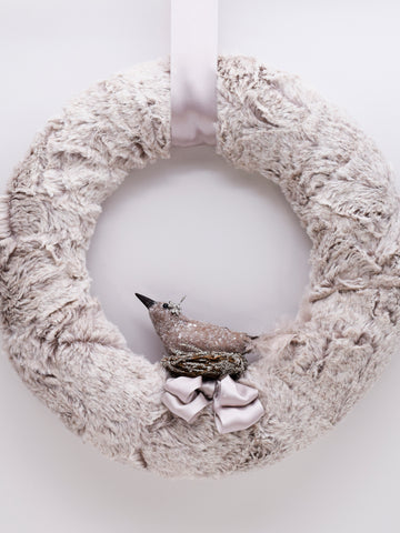 "Collette 12"" Wreath - Oatmeal Fur"