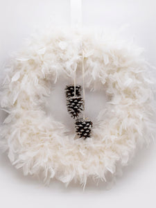 "Feather and Cone 13"" Wreath - Cream"