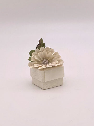 "Zinnia Ring Box - 1.75"" x 1.75,"" Cream"