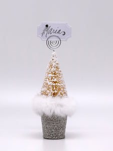 Tree Card Holder - Silver, Snow Fur