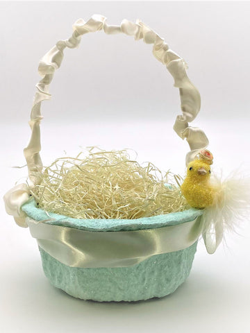 Peep with Blossoms Basket - Small, Aqua
