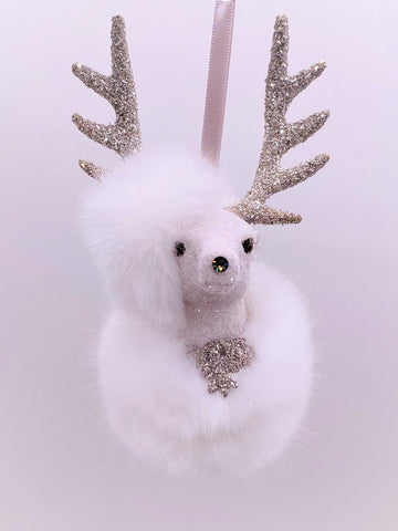 "Stag with Crown Ornament 3.5"" x 6"" - Dove, Snow Fur"