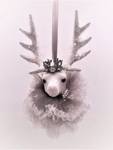 "Stag with Crown Ornament 3.5"" x 6"" - Dove"