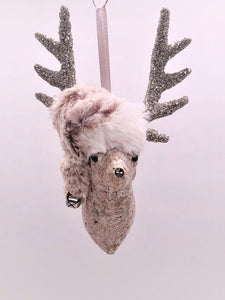 "Stag with Hat Ornament 3.5"" x 6"" -  Gold Mica"
