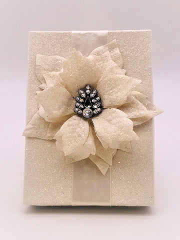 "Rectangle 5""x 7"" Poinsettia Gift Box - Cream"