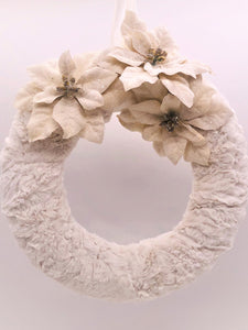 "Fur and Poinsettia 12"" Wreath - Bisque Fur"