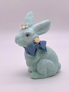 Bunny with Gingham Bow - Aqua