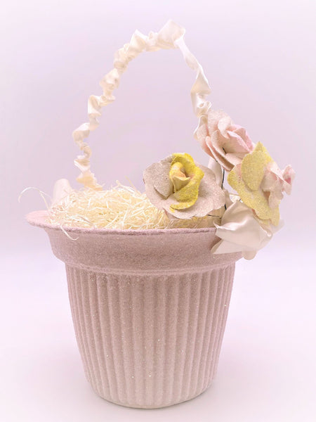 Ribbed Basket with Blossoms- Large, Cream