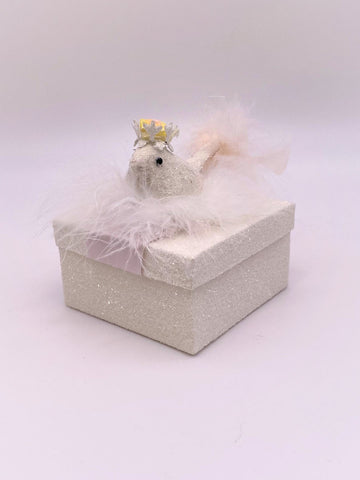 Bird Square Gift Box - Cream