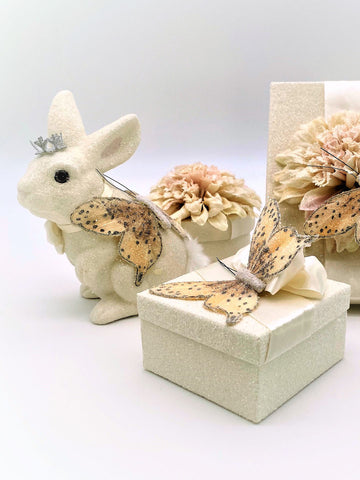 Butterfly Square Gift Box - Cream
