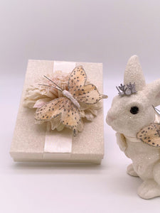 Butterfly with Dahlia Rectangle Gift Box - Cream