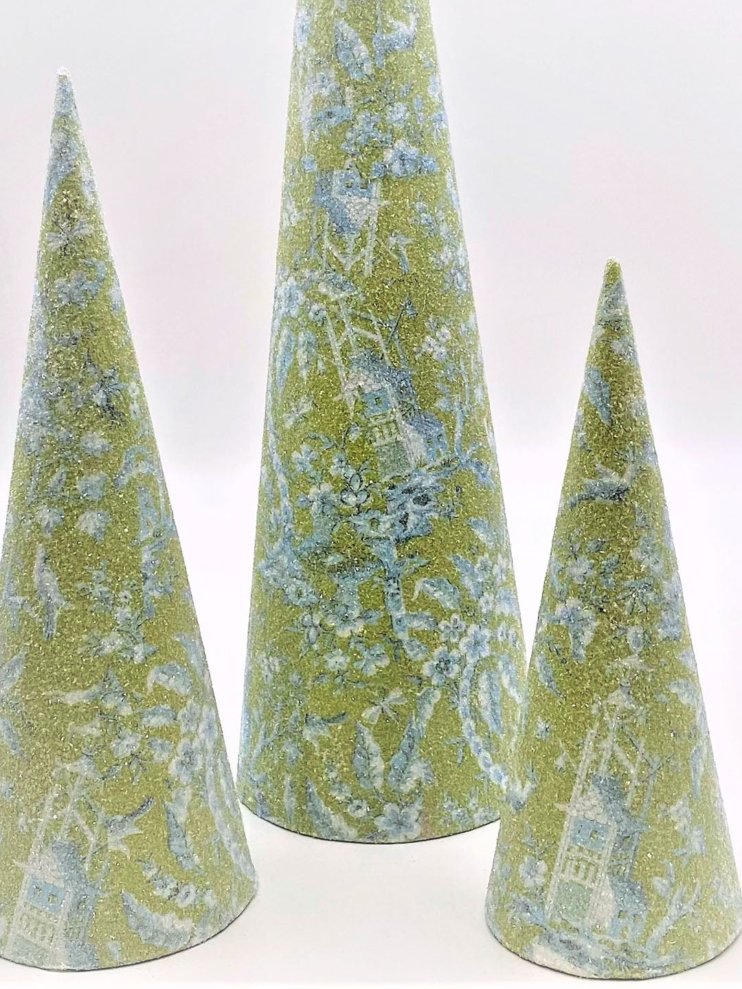 Cone Tree - Small, Chinoserie Decoupage, Green