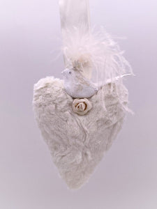 Blossom Heart with Bird - Medium, Bisque