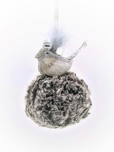 Bird on Pouf Ornament - Ash Fur