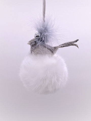 Bird on Pouf Ornament - Snow Fur