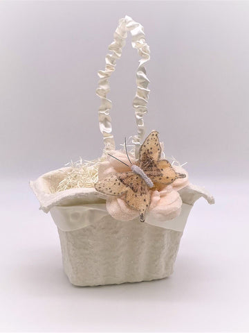 Butterfly Rectangle Basket - Cream