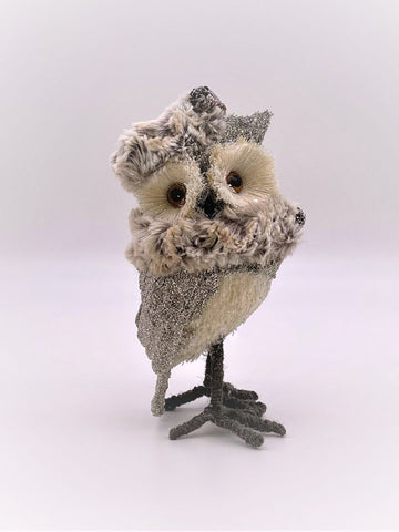 Williamina Owl - Silver, Spotted Fur