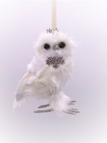 Owl with Crown Ornament - White