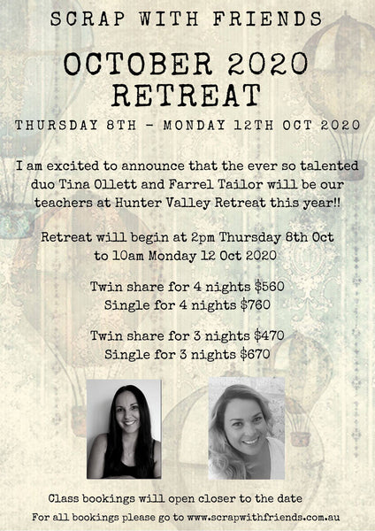 Oct 2020 Hunter Valley Retreat - Deposit 4 Nights - Twin Share