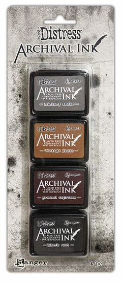 Ranger - Distress Archival Ink - Black Soot,Ground Espresso,Hickory Smoke,Vintage Photo