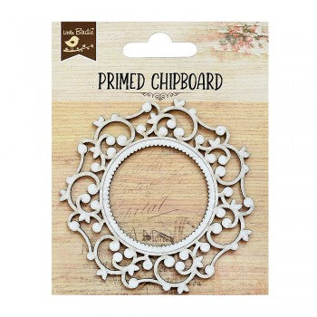Little Birdie - Chipboard - Elegant Swirls Round Frame 1pc