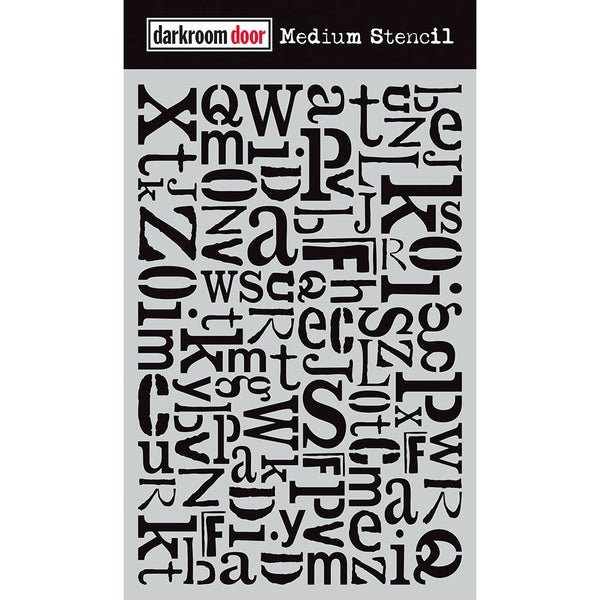 DARKROOM DOOR - MEDIUM STENCIL - ALPHABET JUMBLE 9''X6''