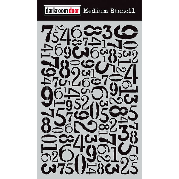 DARKROOM DOOR - MEDIUM STENCIL - NUMBER JUMBLE 9''X6''