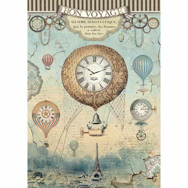 Stamperia - Rice Paper - 21cm x 29.7cm - A4 RICE PAPER PACKED VOYAGES FANTASTIQUES BALLOON