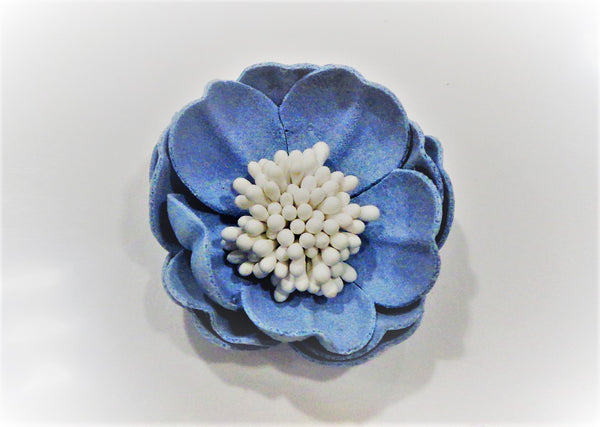 CRAFTY CONCEPTS - 4CM LIGHT BLUE LEATHER FLOWER