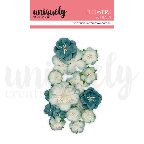 UNIQUELY CREATIVE - DUSTY TEAL FLOWERS