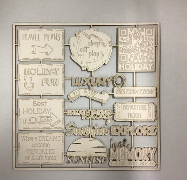 Scrap Collections - Travel Signs (White)  Cut Out