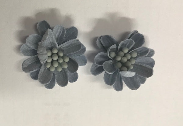 CRAFTY CONCEPTS - ROUND FABRIC DECO FLOWERS BLUE - 2 IN A PACKET
