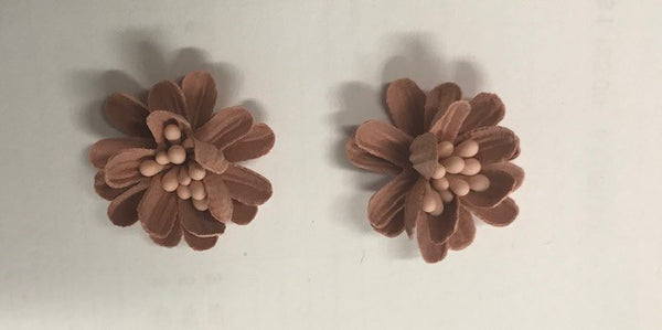 CRAFTY CONCEPTS - ROUND FABRIC DECO FLOWERS TERRACOTTA - 2 IN A PACKET
