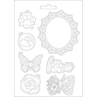 STAMPERIA - SOFT MOULD A5 - CIRCLE OF LOVE FRAME AND BUTTERFLY