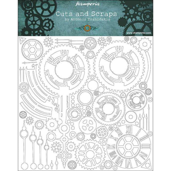 STAMPERIA - CUTS AND SCRAPS - GREYBOARD 30x30/1 mm - CLOCKS AND ARMS